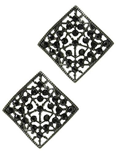 Schwarzes Quadrat Post (beyoutifulthings Damen Edelstahl 1 Paar Ohrringe altsilbern Kontur Quadrat mit Netzmuster besetzt mit Glassteinen schwarz Länge 2,5cm)