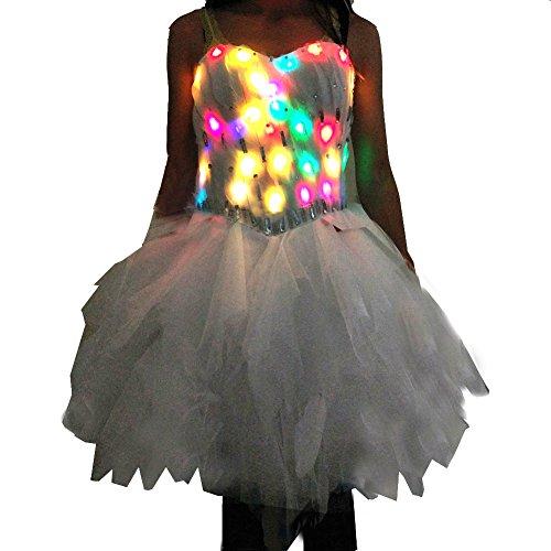 chen LED Light Up party Club kleid feder cocktail glänzende schulterfrei sexy kostüm rock kleid (XL) (Weiße Feder Rock Kostüm)