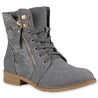 Damen Schnürstiefeletten Spitze Stiefeletten Zipper Worker Boot 152844 Grau Bexhill 38 | Flandell®