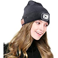 Bestfire Wireless Bluetooth Beanie Hat with LED Headlamp USB Rechargeable Unisex Musical Cap for Running Skiing Hiking Camping Cycling/Answer Calls/Listen to Music - Amazon Vine