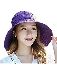 Leisial Mujer Dama Sombrero Para el sol Borde Ancho Sombrero Color Sólido Elegante Sombrero de copa vacío Gorra de playa de verano Plegable Brejable Anti-UV