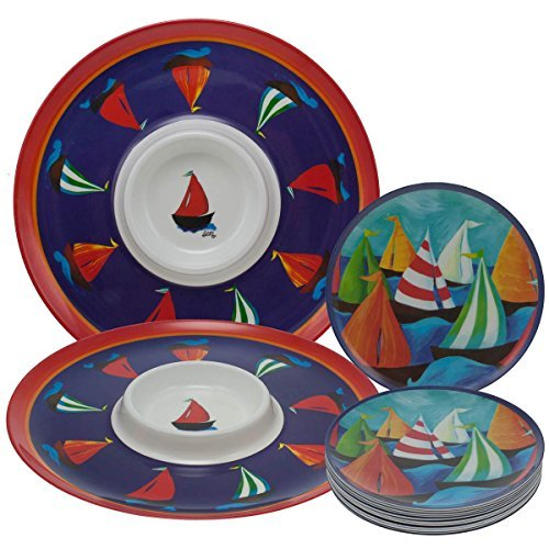 14pc-melamine-party-set-chip-dip-serving-bowl-tray-plates-nautical-sailboat
