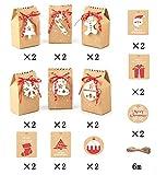 rosepartyh Scatole Regalo di Natale Carta Kraft Etichette Regalo di Natale Appendi Etichette per Regalo di Natale Etichetta Avvolgente con Corda di Canapa Sacchetti Decorativi di Favore di Festa