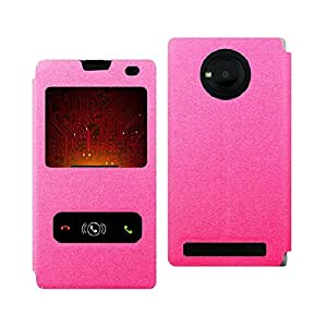 Heartly GoldSand Sparkle Luxury PU Leather Window Flip Stand Back Case Cover For YU Yuphoria YU5010 5010A - Cute Pink