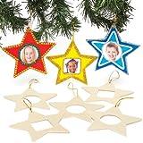 """Deko-Anhänger """"Stern"""" aus Holz mit Fotorahmen für Kinder zum Basteln, Dekorieren und als Weihnachtsbaumschmuck (8 Stück)"""