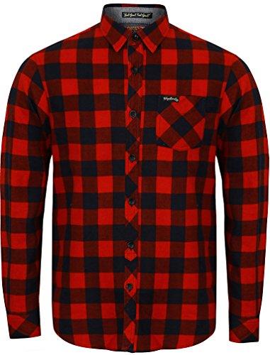 Camicia da uomo in flanella a quadri di tokyo lavanderia 'wilding, a maniche lunghe red-navy small