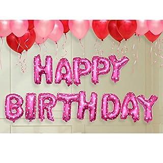 Autumn Love Geburtstagsfeier Überraschungs Dekorationen 40cm Buchstaben Folienballons HAPPY BIRTHDAY, Latex Luftballons, Inflator, Ribbon, Double Klebeband - Pink