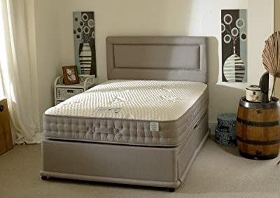 Happy Beds Natural Bamboo Divan Bed Set Memory Foam 2000 Pocket Sprung Mattress End Jumbo Drawer No Headboard