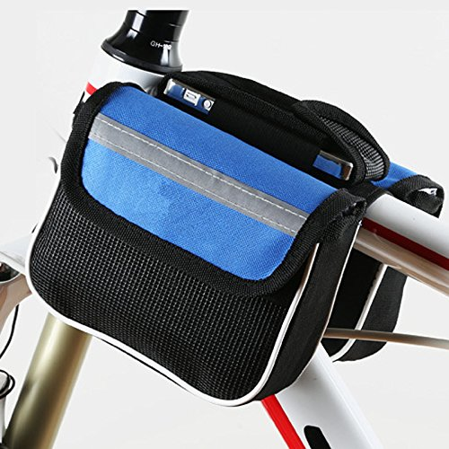 FAN4ZAME Mountain Road Bike Vordere Tasche Obere Rohr Mobiltelefon Sattel Vorderachse Fahrrad Ausrüstung Armaturen Blue