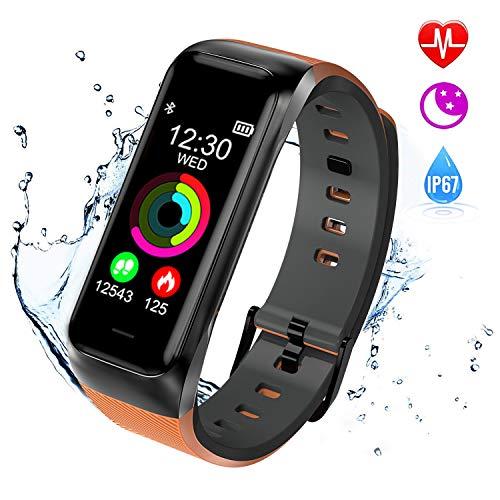 ISWIM Fitness Tracker, Orologio Fitness Pressione Sanguigna Cardiofrequenzimetro, Waterproof IP67 Smart Watch Activity Tracker Pedometro per iPhone Android iOS (Giallo)