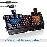 immagine prodotto Sades K8 USB cavo PC computer gaming tastiera 19 non-conflitto chiavi in metallo caso 7 colori Blacklight (nero)