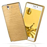 MoEx Sony Xperia Z | Hülle Silikon Gold [OneFlow Brushed Back-Cover] TPU Schutzhülle Ultra-Slim Handyhülle für Sony Xperia Z Case Dünn Silikonhülle Rückseite Tasche