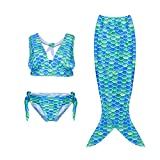 Sirène 3 Pièce fille Bikini Maillot de Bain - Costume de déguisement pour enfants (140(9-10Y), Green and blue)