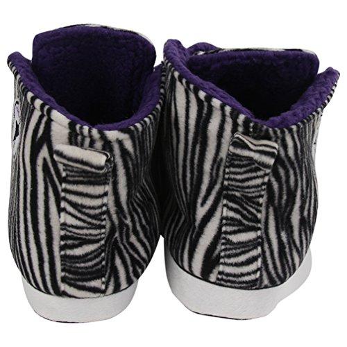 Home Slipper Unisex Kinder Sneaker Hausschuhe Pantoffeln für Zuhause angenehm und kuschelig in diverse Muster Zebra