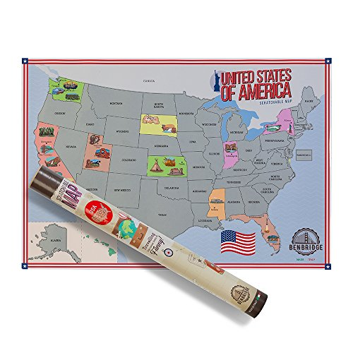 scratchable Map USA | Karte der Vereinigten Staaten von Amerika Scratch Map | Reisen und Gratta via Staaten Die Sie besucht ihre Schlafstil Karte der USA. | die einzige Karte Scratch Map Made in Italy |