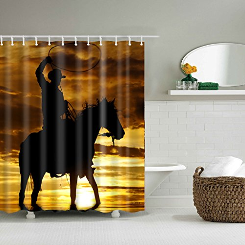 Cowboy sitzend auf Pferd Lasso Sunset Scene Badezimmer Duschvorhang Polyester-Set (Cowboys Zubehör)