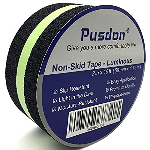 Pusdon Anti Slip Non Skid Safety Tape, Luminous, Green Glowing In The Dark Safety Stage, 2-Inch x 15Ft (50mm x