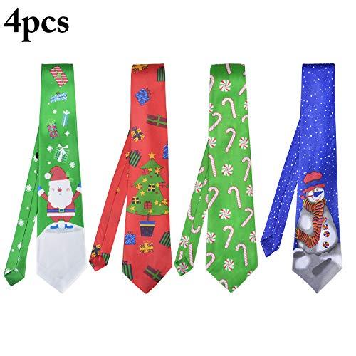 Fascigirl Weihnachten Krawatte, 4 Stücke Mens Krawatte Santa Schneemann Weihnachtsbaum Muster Krawatte für Festival