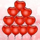 DekoRex® 10 Stück rote Herzen Folienballons Luftballons Dekoration Heliumballons Hochzeit Liebeserklärung