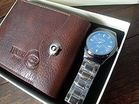MENS TWO PIECE LUXURY BOX SET GENUINE LEATHER BI FOLD WALLET AND BLUE FACE STYLISH WRIST WATCH BY