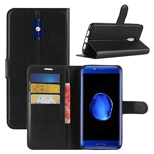 HualuBro DOOGEE BL5000 Hülle, [All Aro& Schutz] Premium PU Leder Leather Wallet Handy Tasche Schutzhülle Case Flip Cover mit Karten Slot für Doogee BL5000 5.5 Inch 4G Smartphone (Schwarz)