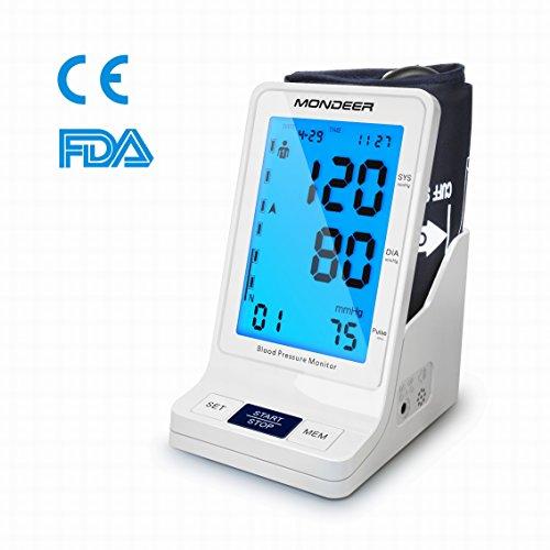 Vollautomatisches Oberarm-Blutdruckmessgerät,Mondeer Digital Blutdruckmesser,Blutdruck- und Pulsmessung,Elektronisches Blutdruck Messgerät Mit WHO Anzeige und großem Display für zwei Nutzer (2x 90 speicherbare Messungen)