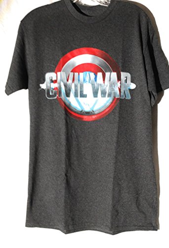 Capt America Civil War Shield Herren Grau T-Shirt, Medium (America Shield Capt)