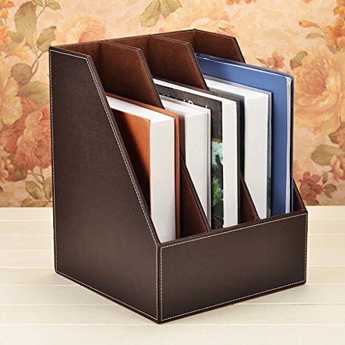 CHAOYANG Neuer Stil Multifunktions-Leder-Magazin-Halter-Datei-Rack, Bücherregal, Office Storage Desktop-Regal-Datei Teiler Kabinett Document Tray Organizer Box. (Farbe : Brown, Größe : 27*27*34.5cm) (Brown-leder-bücherregal)