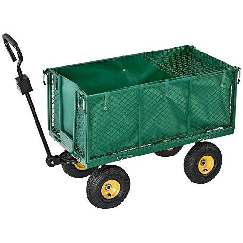 Juskys Metall Gartenwagen mit herausnehmbarer Plane & Luftreifen mit Stahlfelge | 550 kg | Seitenteile abnehmbar | Transportkarre Gartenkarre