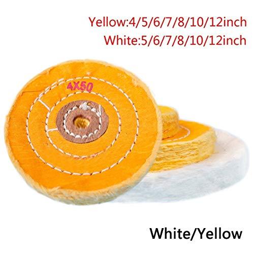 NO LOGO LT-Discs, 1pcs 4-12 Zoll Cotton Lint Tuch Schwabbelscheibe Gold Silber Schmuck Spiegel Polierscheibe 12mm Innenbohrung 50 Schichten (Größe : White 10 inch)
