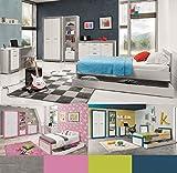 Jugendzimmer Kinderzimmer komplett 4TEEN Set C weiß & grau,grün,türkis,rosa, Farbauswahl Schrank Standregal Kommode Schreibtisch Bett 200x90 Wandregal