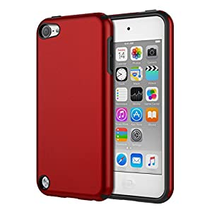 MoKo Case Fit iPod Touch 2019 Released iPod Touch 7/ iPod Touch 6/ iPod Touch 5, 2 In 1 Shock Absorbing TPU Bumper Ultra Slim Protective Case with Hard Back Cover - Red