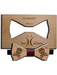 """Pajarita en madera de haya con lazito en piel personalizable """"Cool Collars"""". Modelo """"El Pirata"""""""