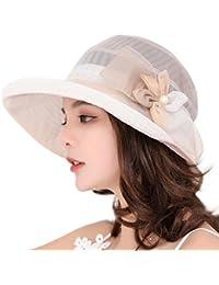 Cappello Donne Estivo Primavera Protezione UV Cappellini con Visiera  Organza Chiffon Fiore Topper Pieghevole da Viaggio 5a3f5c93eee6