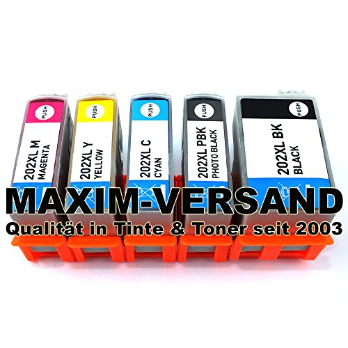 Epson 202 XL kompatibel Multipack Tintenpatronen (5er Set) - passend für Epson Expression Premium XP-6000 XP-6005 XP-6100 Series XP-6105 -