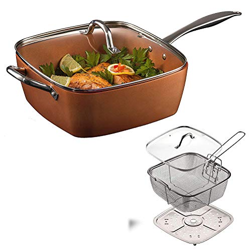 Frying Pan, Faway 4PCS / Set Copper Square Pan Induction Chef With Glass Lid Fry Basket Frying Pan Steam Rack -