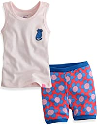 [FreeShipping] 1-5 Yrs Kids Girls Sleeveless Pajama Sleepwear Set Hawaiian cat