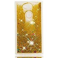 HopMore Funda Sony Xperia L2 Silicona 3D Glitter Liquido Brillante Purpurina Motivo Transparente TPU Carcasa Xperia