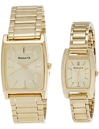 Sonata Analog Champagne Dial Pair Watch - NF70088014YM02