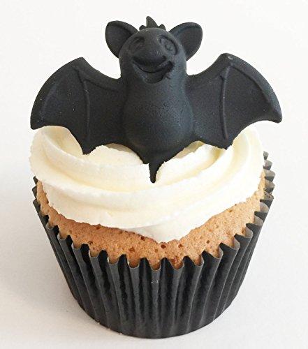 6 Handgemachte Kuchendekorationen aus Zucker: Fledermaus / 6 Sugar (Halloween Handgemachte Dekoration)