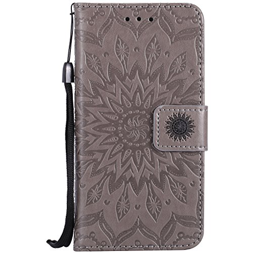 Custodia iPhone 7, iPhone 7 Cover, ikasus® iPhone 7 Girasole di Emboss Custodia Cover [PU Leather] [Shock-Absorption] Protettiva Cover Custodia in pelle verniciata Modello con Super Sottile TPU Intern Grigio