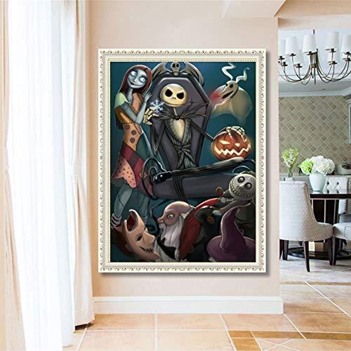 WEISY DIY 5D Diamant Malerei Kit Schädel Vollbohrer Diamant Kreuzstich Kunsthandwerk Leinwand für Halloween Home Wall Decor -
