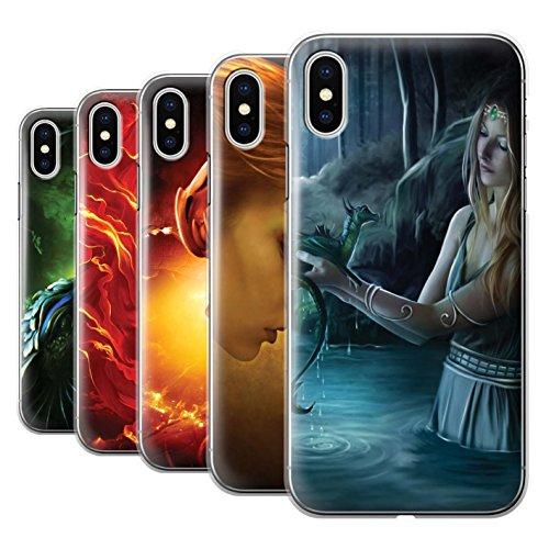 Offiziell Elena Dudina Hülle / Case für Apple iPhone X/10 / Cameleon Muster / Drachen Reptil Kollektion Pack 5pcs