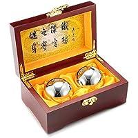 Bolas de Baoding del fortalecimiento de la muñeca de MeFe, bolas de Baoding Bolas de tensión del ejercicio de la salud china (diámetro de acero sólido 50MM peso 500 Gramos)