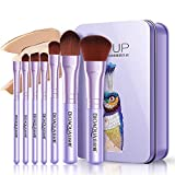 Pinsel-Set Brush Set Make Up Bürsten Kosmetikpinsel Schminkpinsel Set Augenpinsel Foundation pinsel Lidschatten Pinsel Lippenpinsel Puderpinsel- 7 Teiliges Premium Pinselset mit Verpackung (lila)
