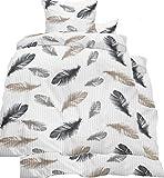 KH-Haushaltshandel 4-tlg. Seersucker Bettwäsche 2X (135x200 +80x80cm), weiß, mit Federn in beige grau anthrazit, bügelfrei, Microfaser (60285)