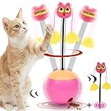 YAMI Chiavetta di filatura Automatica per Giocattoli con Palline interattive per Gatti con Luce Chase e distributore di Cibo per Gattino