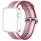 CICIYONER 1 PC Bunt Release Sport Royal Woven Nylon Armband Strap Band für Apple Watch 38mm, 6 Farben zu wählen (Rosa, Apple Watch 38mm)