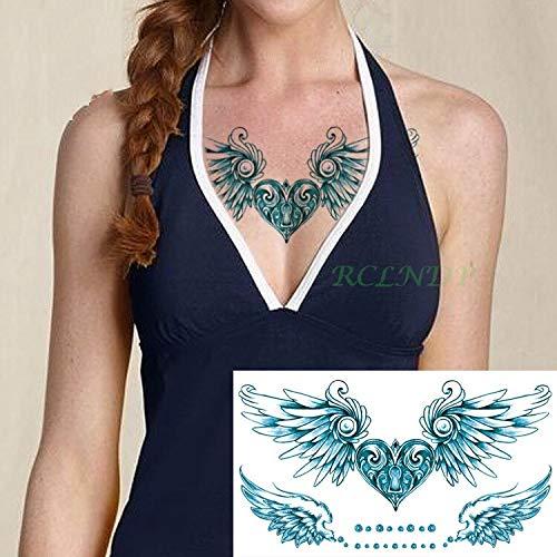 Autoadesivo del tatuaggio impermeabile cuore con ali sul retro tatuaggi tattoo tatuaggio tattoo per donna ragazza signora