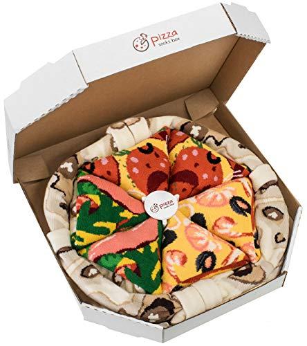 Rainbow Socks - Man Woman Pizza Socks Box Mix Seafood Italian Pepperoni - 4 Pairs - Size UK 4-7 EU 36-40